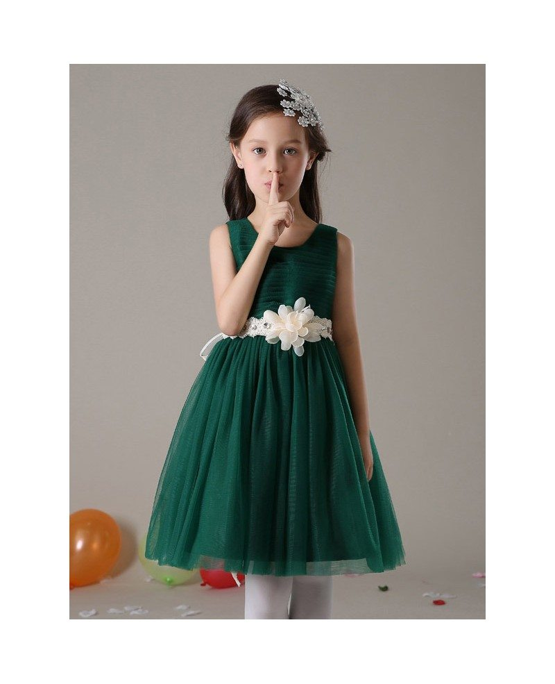 Short A Line Pleated Tulle Hunter Green Flower Girl Dress