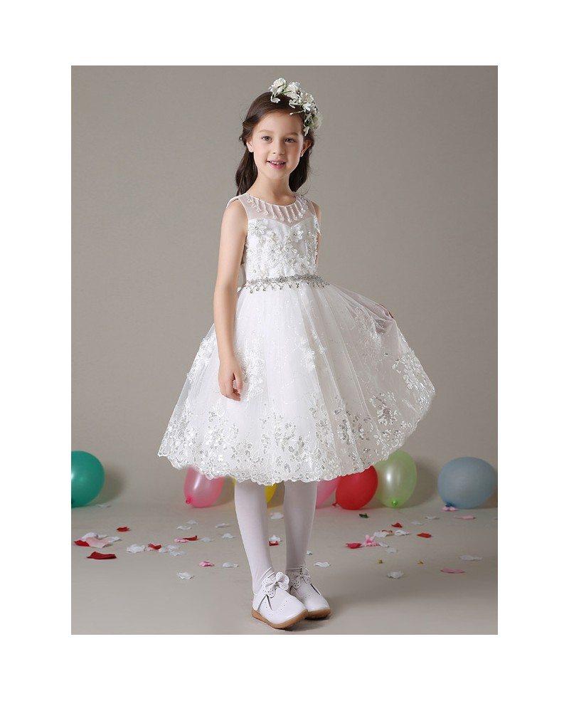Short White Lace A Line Flower Girl Dress With Diamond Waist Gemgrace