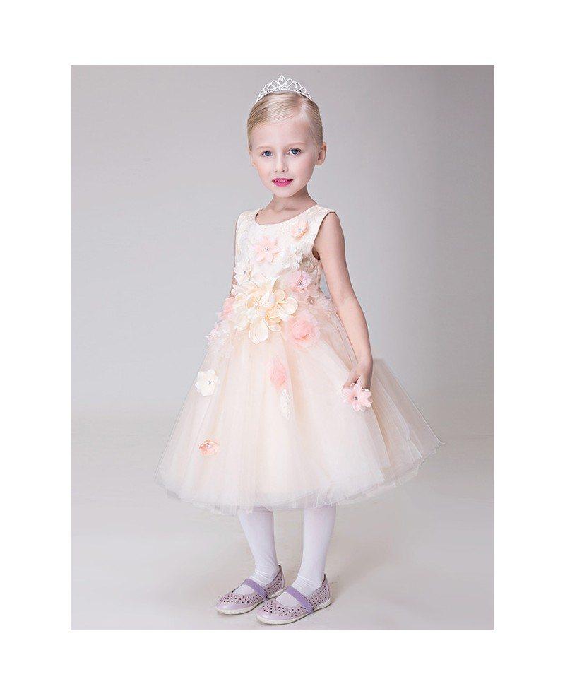Floral Pink Short Tulle Ballroom Flower Girl Dress Gemgrace