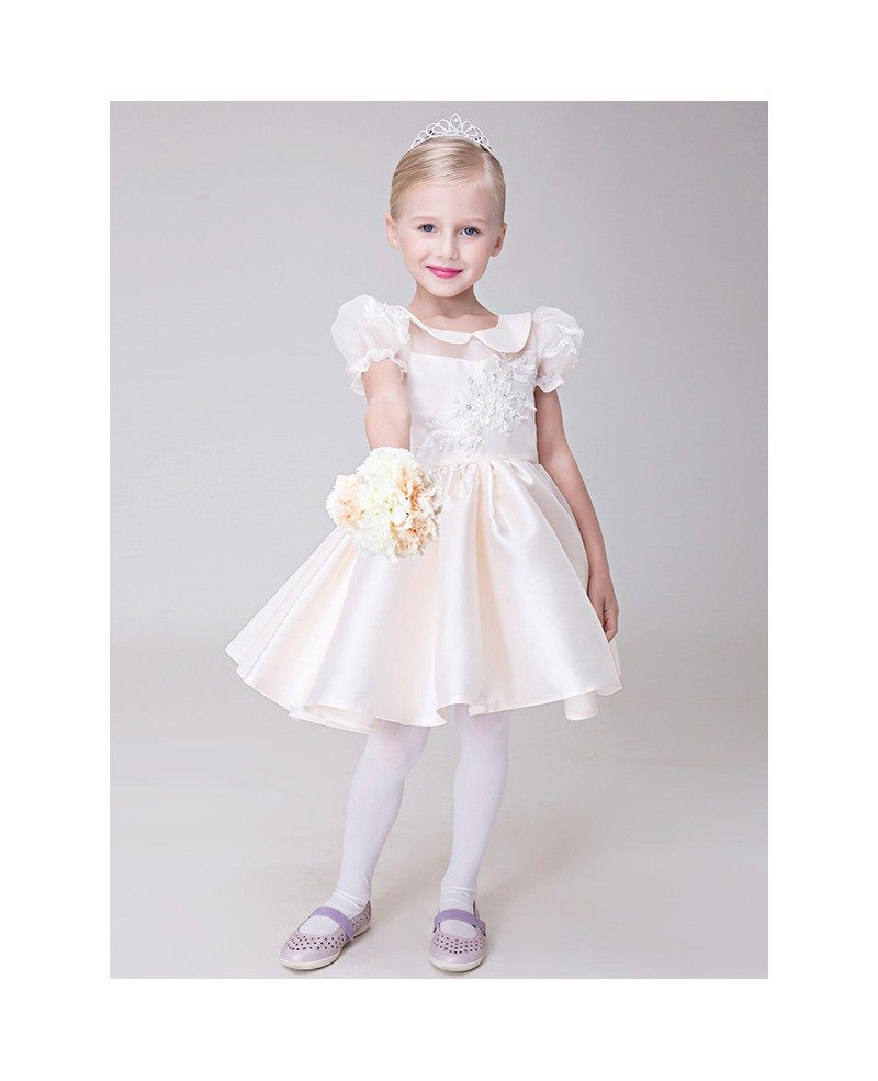 pale pink collared lace satin flower girl dress with short