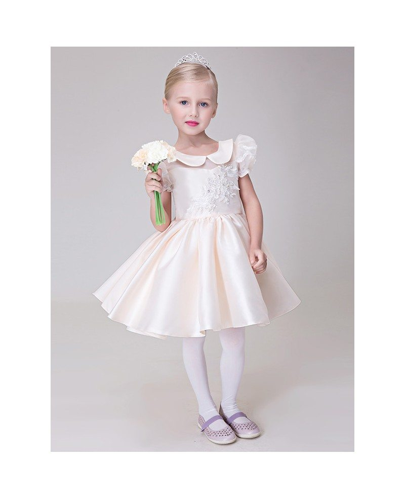 Pale pink collared lace satin flower girl dress with short sleeves pale pink collared lace satin flower girl dress with short sleeves dhlflorist Gallery
