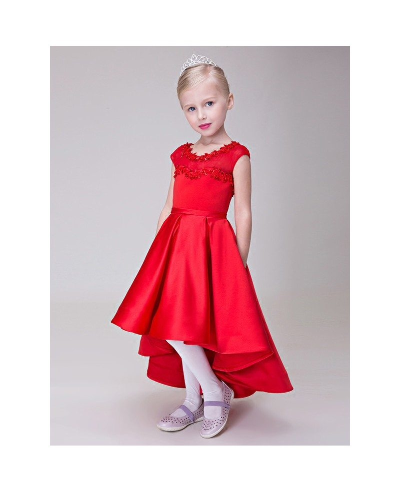 High Low Red Satin Lace Flower Girl Dress in Asymmetrical Style ...