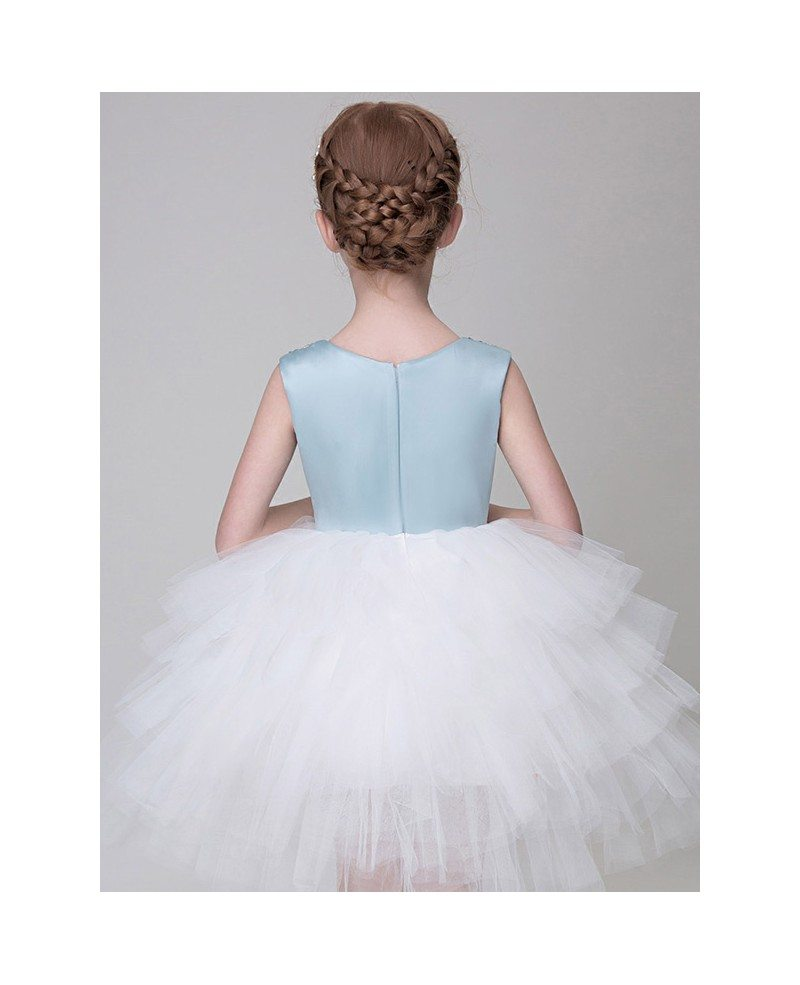 Blue And White Tulle Ruffled Short Flower Girl Dress With Beaded