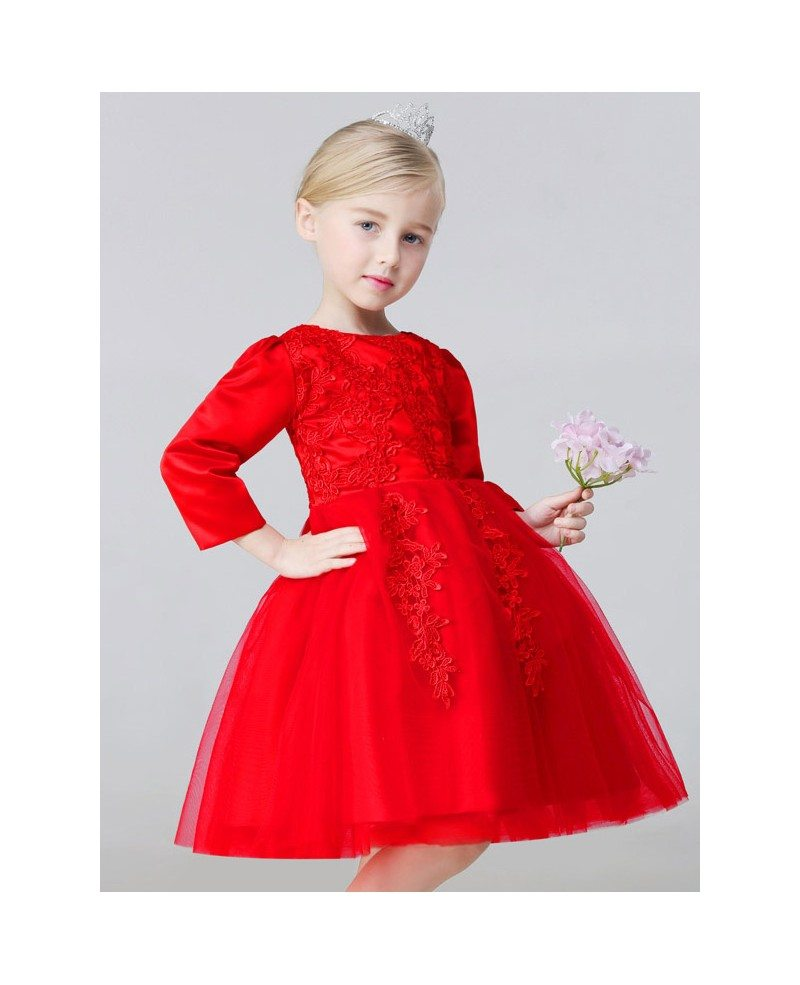 Ball Gown Hot Red Satin Lace Short Flower Girl Dress with Long ...