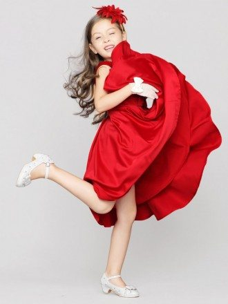 Simple Knee Length Satin Bow Pageant Dress with Buttons V Back