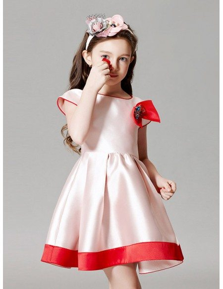 Simple Satin White and Red Short Sleeve Pageant Dress with ...