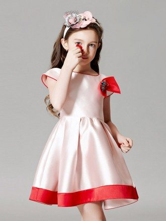 Simple Satin White and Red Short Sleeve Pageant Dress with Sleeves and Bow