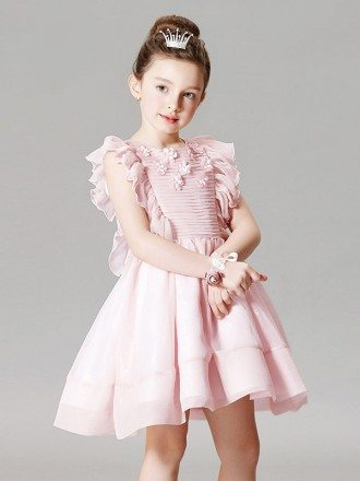 Cute Pink Pleated Flower Girl Dress in Short Length