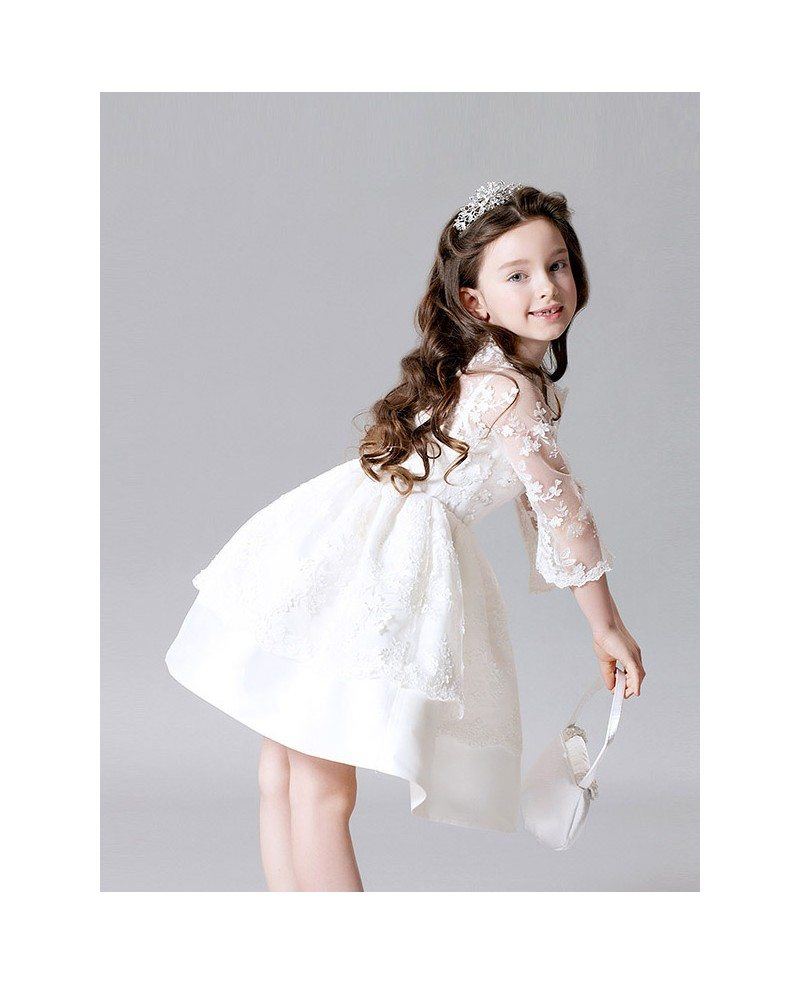 White Satin Short Flower Girl Dress With Long Lace Jacket Gemgrace