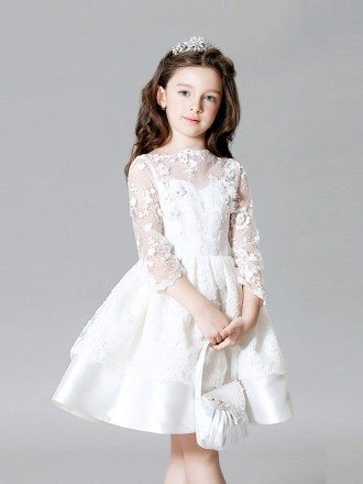 White Satin Short Flower Girl Dress with Long Lace Jacket