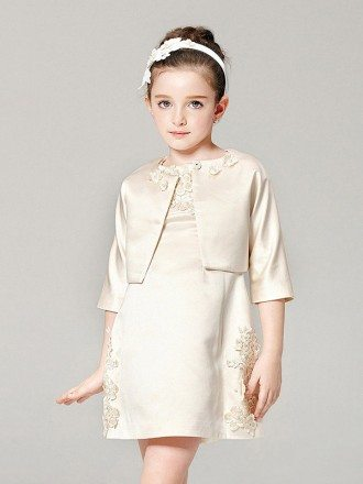 Lovely Champagne Satin Applique Pageant Dress with Jacket