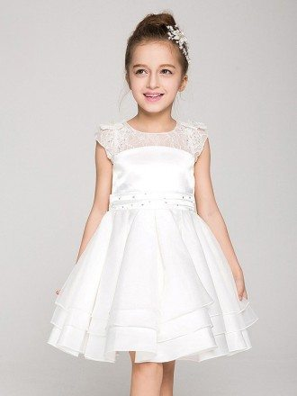 Little Girl's Short Layered Pageant Dress with Lace Top