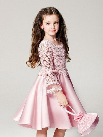Simple Pink Satin Short Pageant Dress with Flare Sleeve Lace Jacket