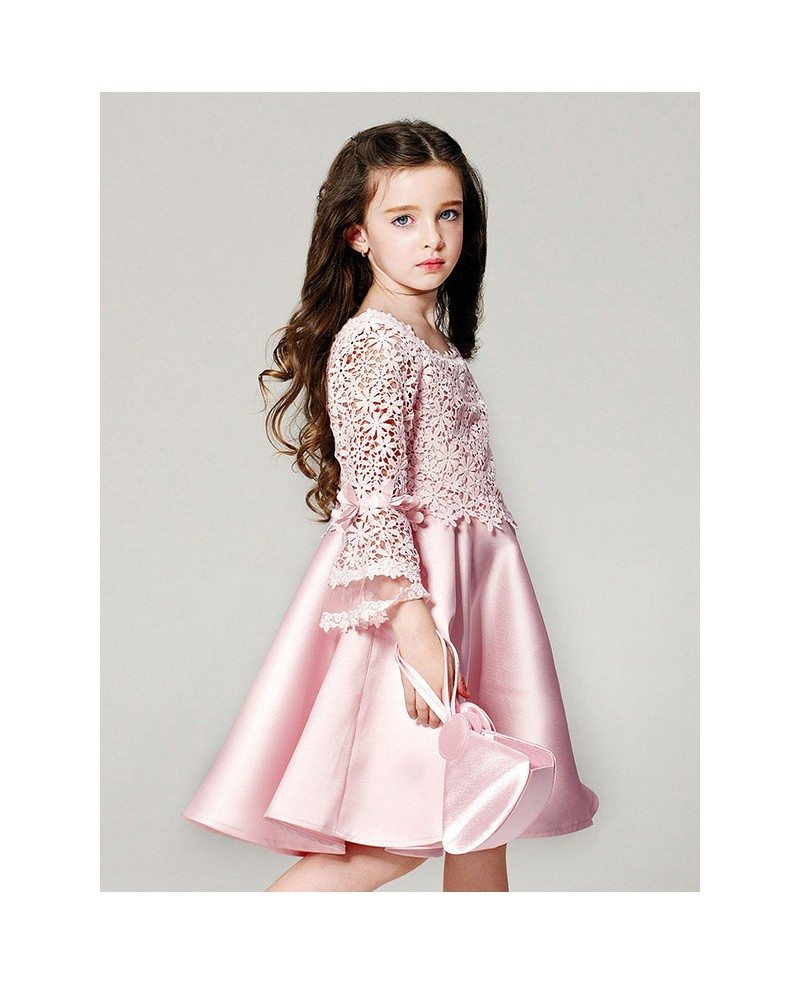 Simple Pink Satin Short Pageant Dress with Flare Sleeve Lace ...