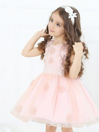 Short Pink Floral Tutu Flower Girl Dress with Bow Sash