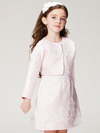 Short Satin Champagne Applique Pageant Dress with Jacket
