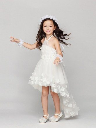 Short-Long Halter Tulle Flower Girl Dress Decorated with Floral