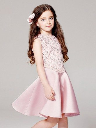 Simple Pink Satin Short Pageant Dress with Sleeveless Lace Jacket