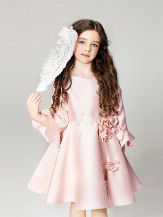 Pink Satin Short Floral Pageant Dress with Flare Sleeves