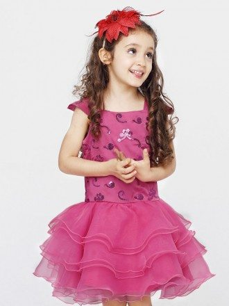 Fuchsia Layered Embroidered Beading Flower Girl Dress with Cap Sleeves