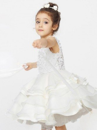 Ballroom Layered Tutu Lace Flower Girl Dress with Buttons Back