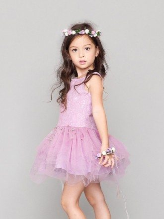 Asymmetrical Lilac Lace Beaded Tutu Tulle Pageant Dress for Little Girls