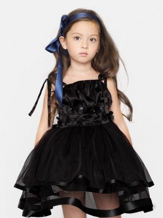 Short Ball Gown Tulle Black Flower Girl Dress with Jacket