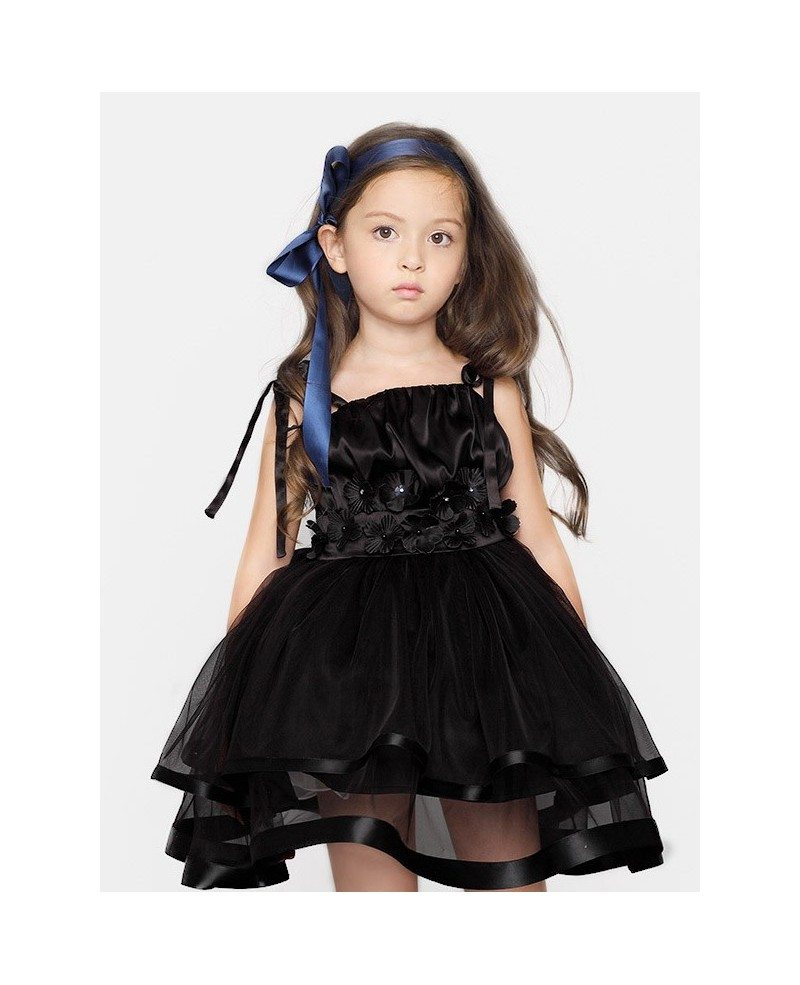 Short Ball Gown Tulle Black Flower Girl Dress with Jacket - GemGrace