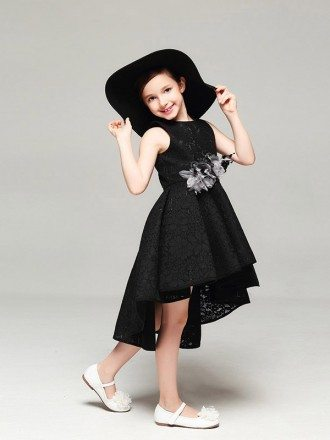 Whole Lace Simple Black Pageant Dress in Asymmetrical Style