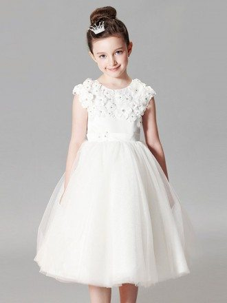 Modest White Tulle Short Ball Gown Flower Girl Dress with Applique