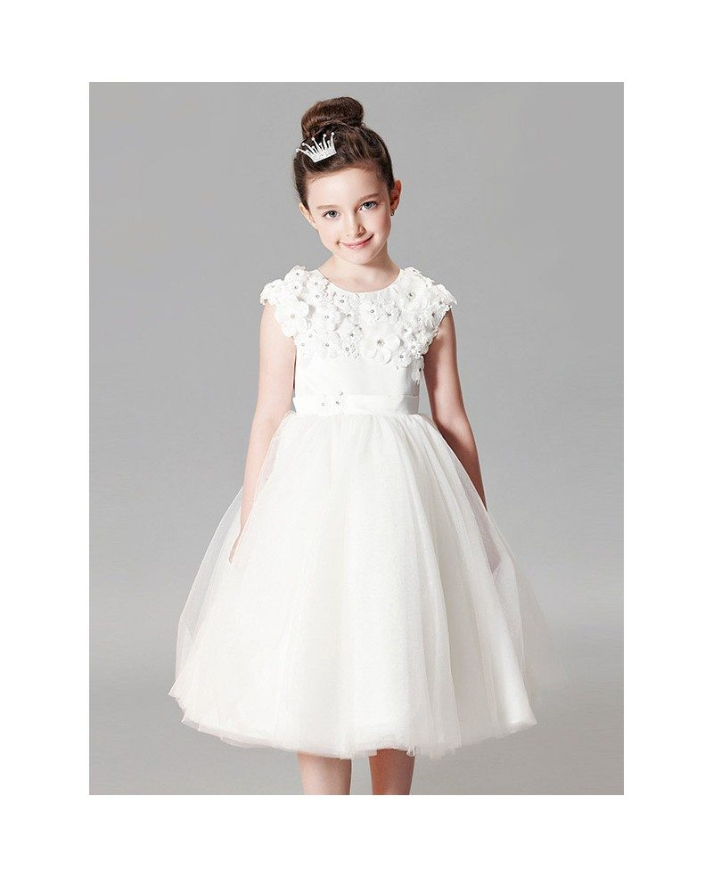 Modest White Tulle Short Ball Gown Flower Girl Dress with Applique ...