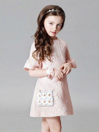 Whole Lace Simple Pink Short Flower Girl Dress with Flare Sleeves