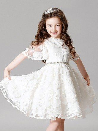 Modest Whole Lace Puffy Sleeves Flower Girl Dress with Rhinestone Waist Line