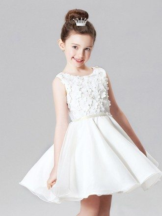 Organza Ballroom Short Asymmetrical Floral Flower Girl Dress
