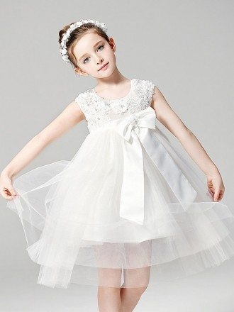 Short Empire Waist Tulle Ballroom Applique Flower Girl Dress with Bow