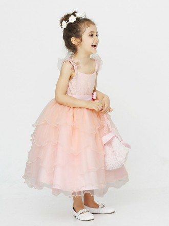 Tea Length Layered Ball Gown Flower Girl Dress with Sequin Bodice