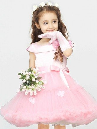 Lovely Pink Ballroom Short Flower Girl Dress with Satin Top and Tulle Gown