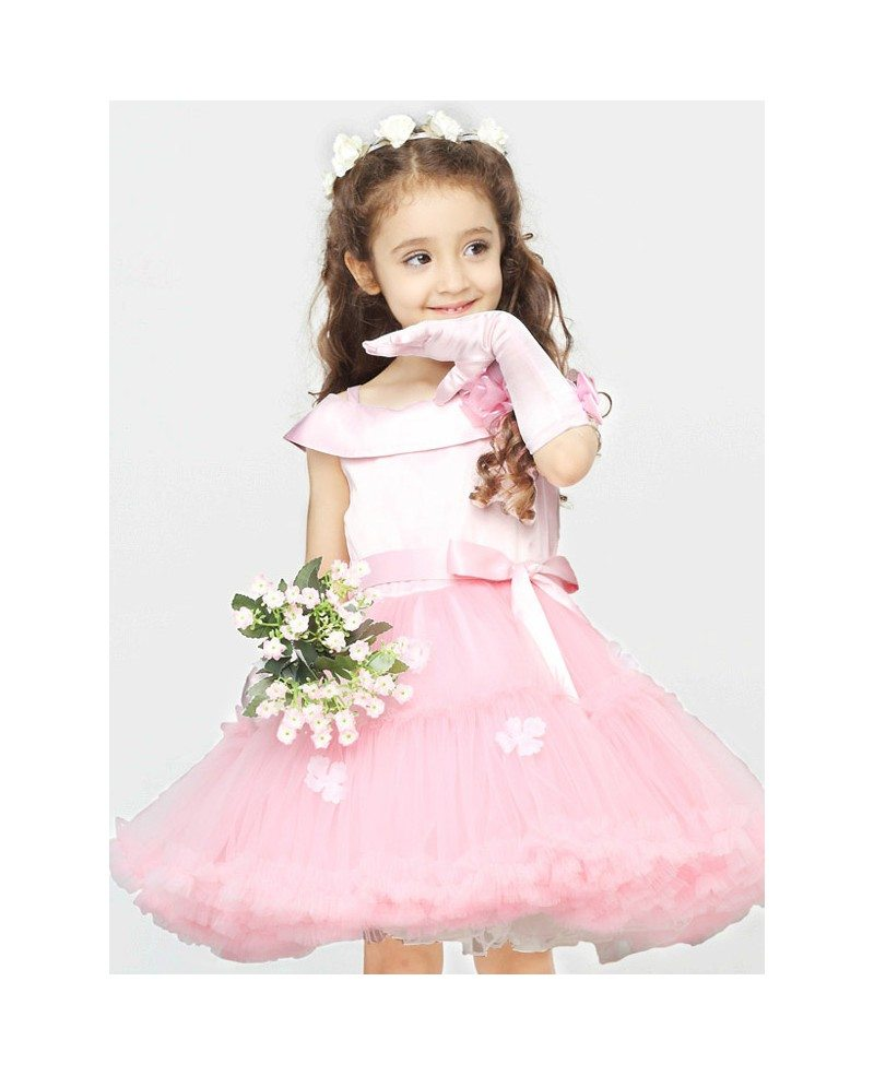 Lovely Pink Ballroom Short Flower Girl Dress With Satin Top And