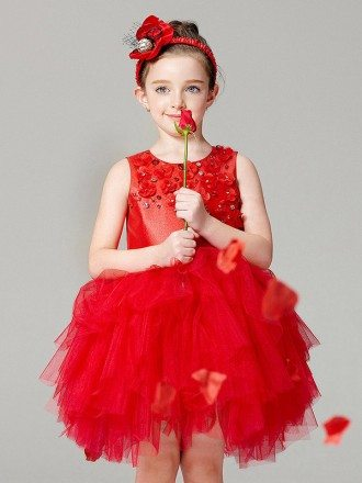 Hot Red Short Asymmetrical Tulle Flower Girl Dress in Sleeveless