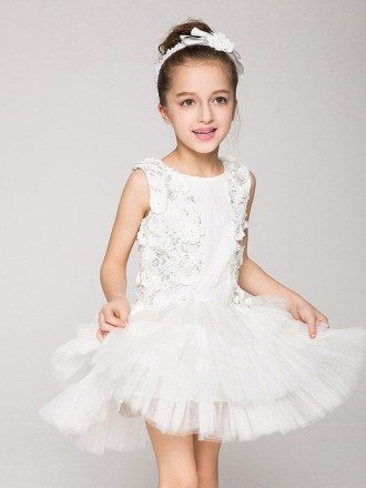 Tulle Layered Short Applique Flower Girl Dress without Sleeves