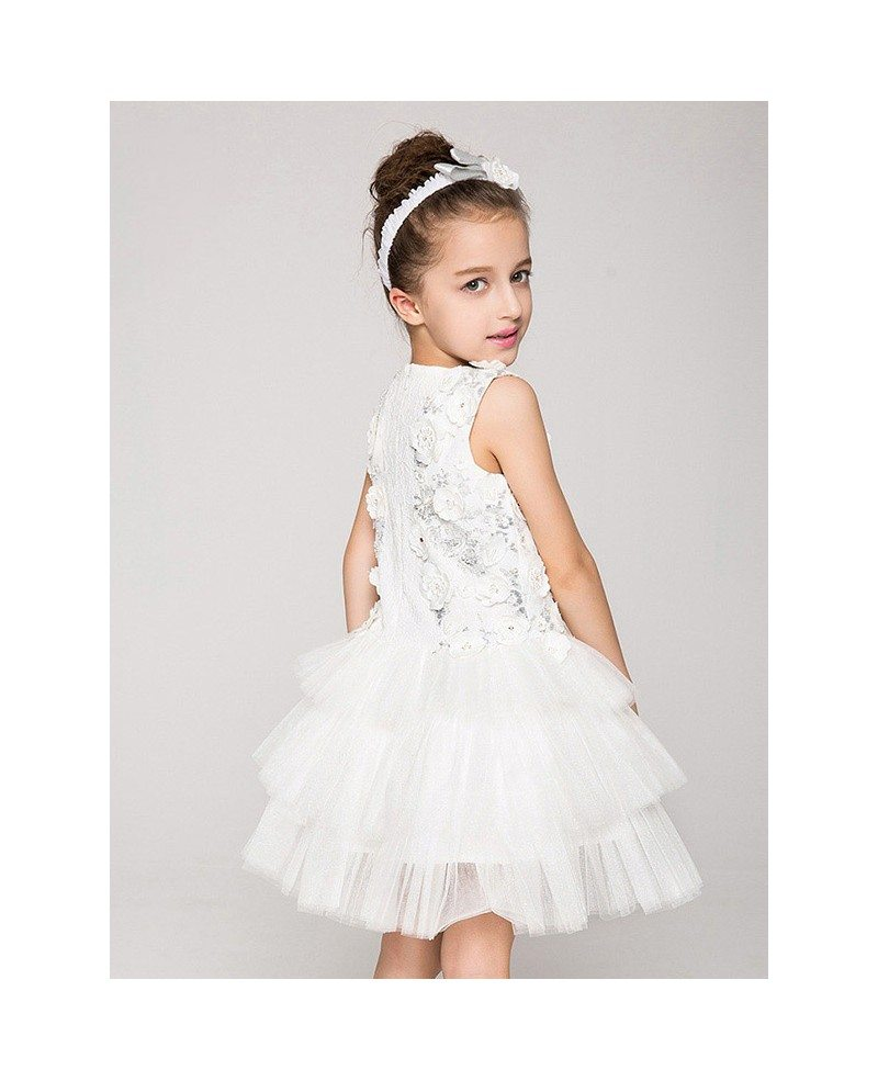 Tulle layered short applique flower girl dress without for Wedding dresses without sleeves