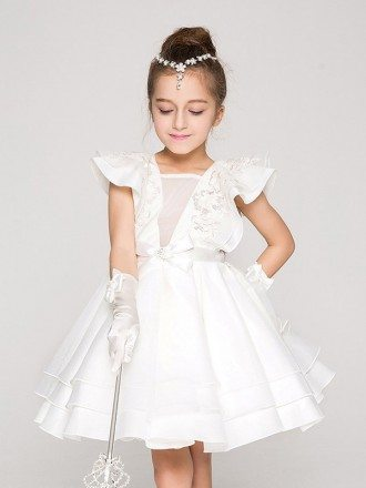 Knee Length Ballroom Applique Pageant Dress with Flare Sleeves