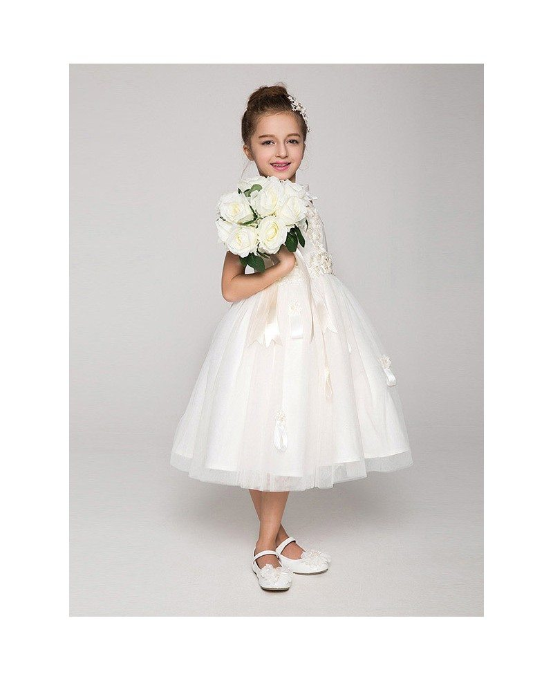 Tea Gown: Tea Length Tulle Ball Gown Flower Girl Dress With Bows