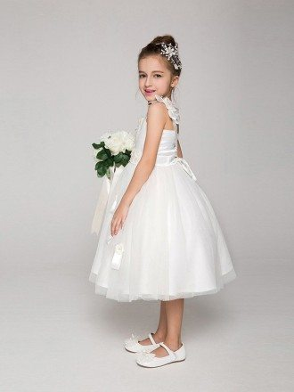 Tea Length Tulle Ball Gown Flower Girl Dress with Bows