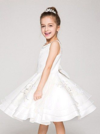 Applique Layered Ball Gown Pageant Dress with Sweetheart Back