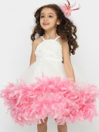 Fairy Feathers Ballroom Pageant Dress for Little Girls