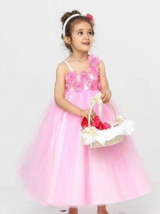 Lovely Pink Tea Length Ball Gown Flower Girl Dress with Empire Waist