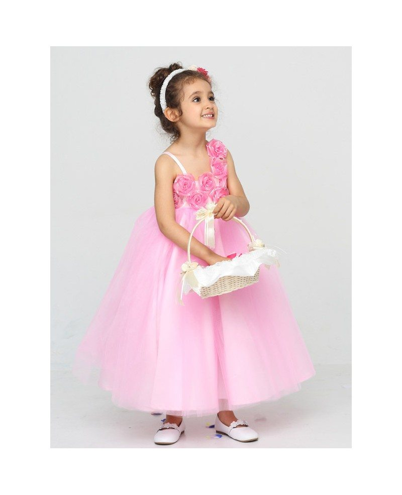 Lovely Pink Tea Length Ball Gown Flower Girl Dress with Empire Waist ...