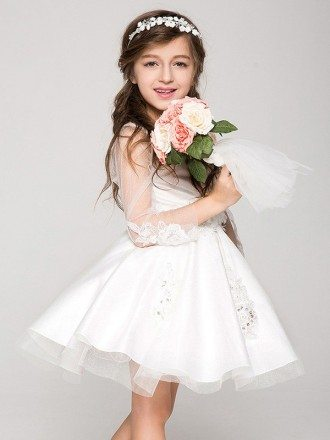 Little Girl's Short Tulle Applique Pageant Dress with Sheer Sleeves