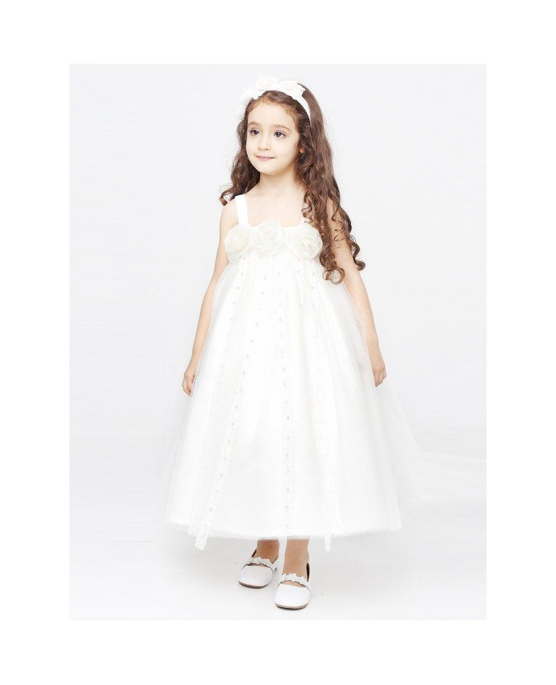Empire Waist Ball Gown Fairy Flower Girl Dress in Ankle Length ...